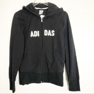 New Adidas Black Slim Fit Hoody Large
